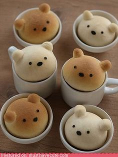 OMG IM OBSESSED with there adorable bread bears in a cup >_< they are super easy to make and delicious as well :) they're almost too kawaii to eat Edible Crafts, Food Crafts, Cute Food, Good Food, Yummy Food, Awesome Food, Bun Recipe, Roll Recipe, Recipe Link