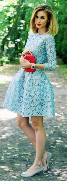 #summer #trending #outfits | Baby Blue Lace Dress