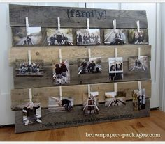 pallet art displaying photos...could do a family tree type thing or showing chronology of family...