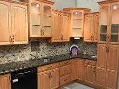 Honey Oak Kitchen Cabinets With Black Countertops Top Of