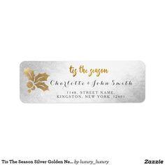 Tis The Season Silver Golden New Address Return Address Label