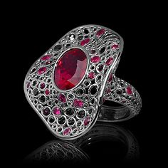 Mousson atelier, collection Bubbles, ring, Black gold 750, Tourmaline rubellite 8,4 ct., Rubies, Black sapphire