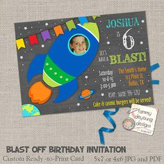 Custom Outer Space Invitation with rocket ship, planets and your childs photo in digital format you print yourself, 5 x 7 or 4 x 6, your choice.
