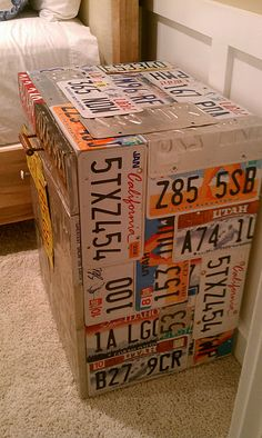 License Plate Night Stand- awesome! Wouldn\u0027t want this but fun idea & Upcycled Decorative Texas License Plate Vase | License plates ...