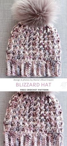 Blizzard Hat Free Crochet Pattern Best Picture For Crochet accessories For Your Taste You are looking for something, and it is going to tell you. Chunky Crochet Hat, Crochet Winter Hats, Knit Crochet, Crochet Baby, Crocheted Hats, Crochet Dolls, Beanie Pattern Free, Crochet Beanie Pattern, Free Crochet Hat Patterns