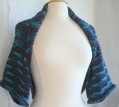 Hand Knit Aqua Blues & Teals Sweater Shrug Bolero by knitme1, $70.00