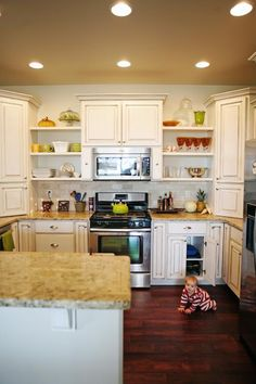 open shelving with cabinets