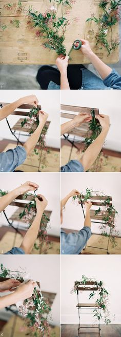 diy-wedding-chair-garland - for bride and groom