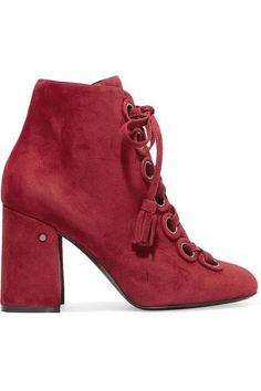 Laurence Dacade - Paddle Lace-up Suede Ankle Boots - Burgundy