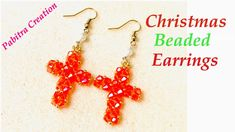 Hi, This is Christmas Cross Earrings Tutorials for beginner. It's very simple and easy to make this beautiful earrings. Cross Earrings, Beaded Earrings, Crochet Earrings, Beaded Christmas Ornaments, Christmas Cross, Earring Tutorial, Beautiful Earrings, Make It Yourself, How To Make
