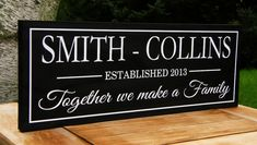 Blended Family Wedding Gift Idea Personalized sign Custom Wooden signs last name sign Custom wedding gift Established family sign Plaque