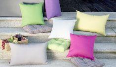 Farebné vankúše.  #zahrada#posedenie#vankuse#inspiracia Fabric, Collection, Tejido, Tela, Cloths, Fabrics, Tejidos