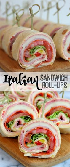 #ad Italian Sandwich Roll-Ups #delicious #summerentertaining Delicious Recipes, Vegetarian Recipes, Yummy Food, Healthy Recipes, Best Italian Recipes, Artichoke Dip, Roll Ups, Veggies, Appetizers