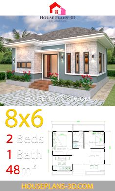 House Plans with 2 Bedrooms Hip roof - House Plans Little House Plans, Dream House Plans, Small House Plans, House Floor Plans, Tiny Home Plans, House Plans Mansion, House Roof, Simple House Design, Tiny House Design