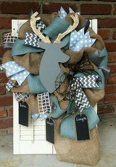 Woodland Nursery Decor Gray Light Blue Deer by Underthekentuckysun