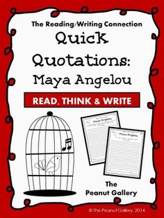 (FREE) Quick Quotations: Maya Angelou...English Language Arts, Literature, Character Education  4th, 5th, 6th, 7th, 8th, Homeschool Activities, Printables, Literacy Center Ideashere is a quick and easy way for students to practice that just takes a few minutes but really uses thinking skills! It is perfect for reading, writing, history/social studies, and character education all in one!