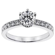 0.80 CT TW Round Diamond Engagement Ring in 14k White Gold - Size 12 >>> Check out the image by visiting the link.