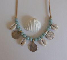bohemian jewelry, cowrie shell necklace, gypsy coin necklace, gypsy necklace, bohemian necklace, beachcomber boho necklace
