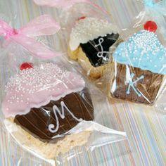 Monogram Cupcake Rice Krispy Treats.  Maybe make this for Hayden's Birthday?