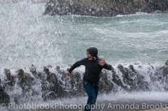 Man nearly swept into the sea in Newquay storm swell Newquay, Cornwall, Waves, Sea, Sunset, The Ocean, Sunsets, Ocean Waves, Ocean