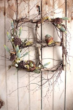 Spring Muscari Window  Spring Summer Wreath  by TheLinnetsWing