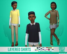 Layered Shirts for Kids This shirt was inspired by KK's Sims 4 who made a shirt like this for men over a year ago. I really wanted something like that for kids, so here it is. It's a frankenmesh of 3 different EA meshes. The shirt comes in 20 solid. Sims 4 Cc Packs, Sims 4 Mm Cc, Sims 4 Cc Kids Clothing, Children Clothing, Sims 4 Hair Male, The Sims 4 Skin, Sims 4 Children, Sims 4 Cc Finds, Making Shirts