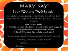 Here's a little incentive to help me reach my goal of sharing Mary Kay products to 30 people by the end of this month (October, 2014)! If you're interested in a FREE pampering session please email me at ebuxton@marykay.com or visit my website at www.marykay.com/mhernandez1