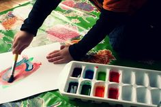 Homemade Watercolor Paints  3 Tbs corn starch   3Tbs baking soda  3Tbs vinegar  1 1/2 tsp of corn syrup  food coloring