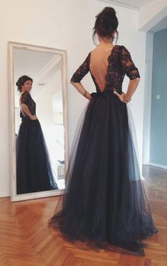 Black Lace Tulle Long Prom Dresses, Formal Dresses.Sexy dress