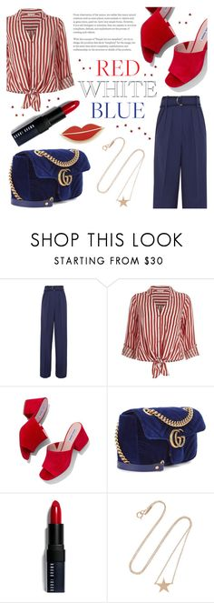 """Red, White & Blue: Celebrate the 4th! (Contest Entry)"" by raniaghifaraa ❤ liked on Polyvore featuring Roksanda, River Island, Steve Madden, Gucci, Bobbi Brown Cosmetics, Jennifer Meyer Jewelry, Georgia Perry and fourthofjuly"