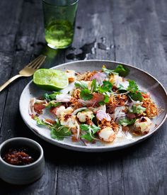 Prawn and pomelo salad with roasted chilli dressing. The prawns in this salad can also be left whole and barbecued in their shells for extra flavour.