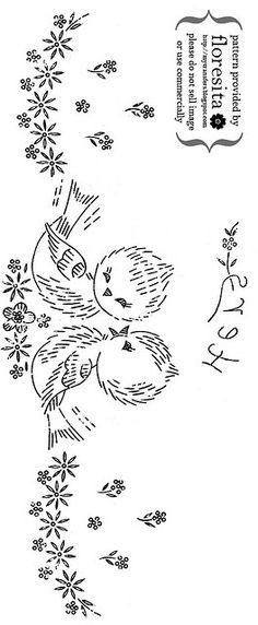 Passarinhos para bordar num lençol de bebé. - Little lovebirds for baby top sheet - by floresita's transfers, via Flickr