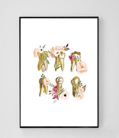 Dentist Gift Dental Office Decor Teeth Print Dental