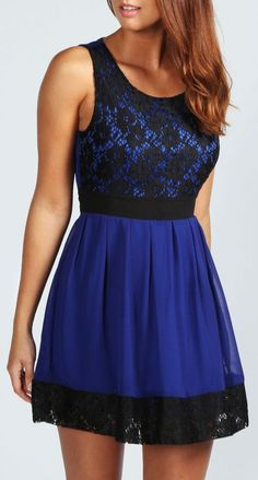 Electric Blue Lace Panel Chiffon Skater Dress <3