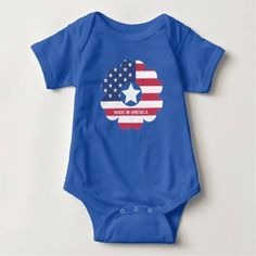 (Custom Made In America Flag Flower Heart Star Baby Bodysuit) #AmericanFlag #Blue #Flower #Heart #MadeInAmerica #Patriotic #Proud #Red #Star #Stripe #Text #White is available on Funny T-shirts Clothing Store http://ift.tt/2ficiTo