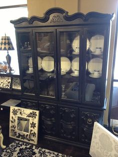 Black shabby chic china cabinet by newleafgalleries, via Flickr