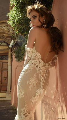 julie vino bridal spring 2017 long sleeves off shoulder sweetheat sheath lace wedding dress (camilla) bv long train