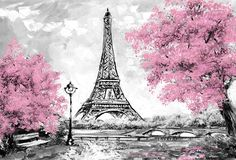 Pink paris wallpaper oil painting city landscape wallpaper tower black white and pink modern art paris Eiffel Tower Drawing, Eiffel Tower Painting, Eiffel Tower Art, Eiffel Towers, Landscape Drawings, Landscape Wallpaper, City Landscape, Landscape Paintings, France Landscape