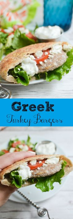 Greek Turkey Burgers - delicious burgers in pitas with feta and homemade tzatziki sauce! Plus, the best tips for keeping turkey burgers from drying out!: