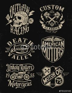 Vector: One color vintage motorcycle graphic set