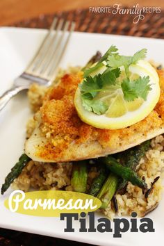 This is one of my very favorite ways to cook tilapia because it is full of flavor and EASY to prepare.  #tilapiarecipe #parmesantilapia
