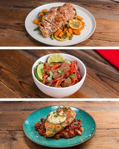 Featuring One-pan Roasted Chicken And Sweet Potatoes, One-pan Chicken Parmesan and Veggie Skillet and Sheet Tray Fajitas Rice Bowl Dinners Under 500 Calories, 500 Calorie Meals, No Calorie Foods, Low Calorie Recipes, Clean Recipes, Cooking Recipes, Healthy Recipes, Sweet Potato Recipes, Chicken Recipes