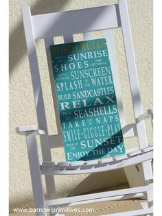 beach rules - rainbow wooden sign barn owl primitives - Barn Owl Primitives