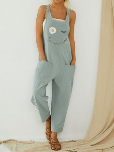Cartoon Daisy Floral Letter Printed Jumpsuit With Pocket is recommended by our customers, buy Cartoon Daisy Floral Letter Printed Jumpsuit With Pocket now! Cotton Linen, Printed Cotton, Jumpsuit Casual, Plus Size Jumpsuit, Printed Jumpsuit, Casual T Shirts, Overalls, Dungarees, Rompers