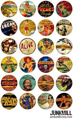 Vintage Circus, Vintage Ads, Vintage Images, Bottle Cap Images, Bottle Caps, Copyright Free Images, Human Oddities, Image Sheet, Freaks And Geeks
