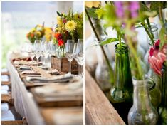 Bottle boxes for table centrepieces