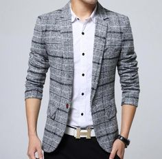 Look fashionable, yet casual in this lattice blazer. This blazer is lightweight and form-fitting and is sure to get you noticed. This blazer is available in the color featured above. Blazers For Men Casual, Casual Suit Jacket, Casual Blazer, Plaid Blazer, Formal Jacket, Blazer Suit, Blazer Jacket, Plaid Suit, Plaid Jacket