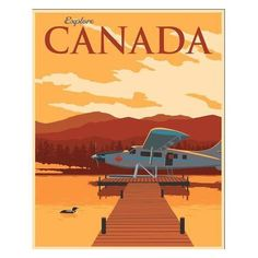 Illustrative Canadian Travel Poster ($115) ❤ liked on Polyvore featuring home, home decor, wall art, posters, planet wall art, outer space posters, solar system wall art, outer space wall art and planet posters