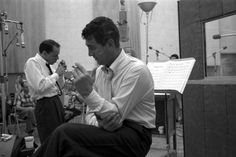Photo: Allan Grant. Not published in LIFE. Sinatra and Martin take a cigarette break during the recording of Sleep Warm in 1958. The album was re-released in 1963 with a much more direct title: Dean Martin Sings/Sinatra Conducts.