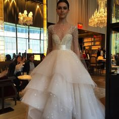 This blush tulle ball gown with shimmer and sparkle is just what every bride needs @m_lhuillier